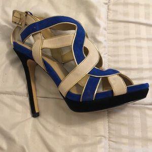 bcbmaxazria blue and cream colored heels